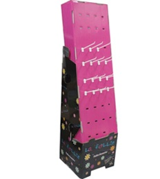 Recycled carton jewelry store pegs display
